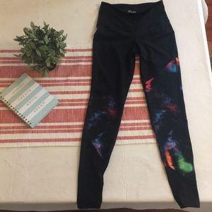 High waisted galaxy print black leggings